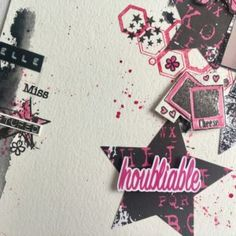 page étoile, hexagone, tampons scrapbooking patouille