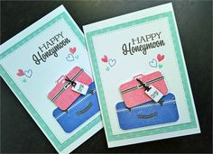 Congratulate the newlyweds with this happy honeymoon card!   Card measures 3.5 X 5 inches and comes with a white envelope.   Card is on white cardstock. Some adorable suitcases have been punched out, stamped and adhered with foam tape. Some little hearts have been stamped on the card. Happy honeymoon has been stamped in black.  Inside is white and blank.  Back is white and blank.   All my cards are made by me (with lots of love and attention to detail) in a smoke free environment on acid and…