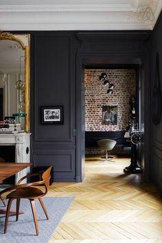 matte black walls + gold accents.
