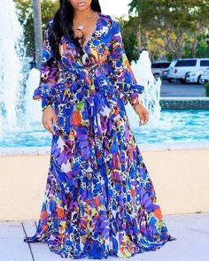 Tropical Print Deep V Belted Warp Maxi Dress P16067, Dark Blue / 2XL Dress Plus Size, Plus Size Maxi Dresses, Summer Dresses, Party Dresses, Evening Dresses, Floral Dresses, Women's Dresses, Cheap Dresses, Wedding Dresses