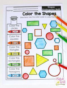 New Ideas For Math Games Kindergarten Shapes Common Cores Kindergarten Math Activities, Kindergarten Shapes, Math Math, Common Core Math, Math Centers, Basic Shapes, Color Shapes, Math Worksheets, Math Tubs