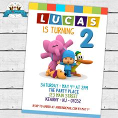 Pocoyo Birthday Party Birthday Party Printable Invitations - Pocoyo Birthday Party Printable DIY Invitation - Personalized Invite card DIY party printables will save you time and money while making your planning a snap! Baby First Birthday, Friend Birthday, First Birthday Parties, Birthday Ideas, Printable Invitations, Party Printables, Party Places, Bday Girl, Minnie Mouse Party