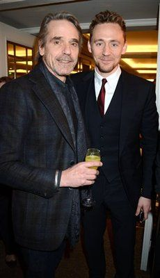 "Tom Hiddleston and Jeremy Irons at the ""South Bank Sky Arts Awards"" - two awesome dudes in one pic cant be happening! *swoons* - scar and loki...that's not ironic at all...."
