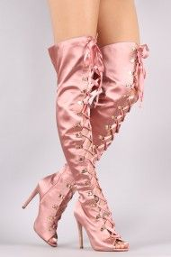 Satin Ribbon Lace-Up Stiletto Over-The-Knee Boots | UrbanOG