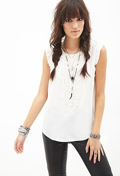 Embroidered Crochet Chiffon Top | Forever21 - 2000067001