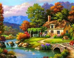LIUDAO DIY Oil Painting Paint by Number Kits DIY Canvas Painting by Numbers Acrylic Oil Painting for Adults Kids Arts Craft for Home Wall Decor Country Cabin inch) -- Details can be found by clicking on the image. (This is an affiliate link) Diy Canvas, Acrylic Painting Canvas, Diy Painting, Painting Classes, China Painting, Canvas Artwork, River Painting, Painting Abstract, Canvas Prints