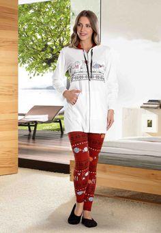 Dika Taytlı Pijama Takımı 2578 - Kapüşonlu, fermuarlı,eşofman olarak da kullanabileceğiniz üst ve şirin sıcak renkleri ile taytlı pijama takımı. - Uykustore.com | İyi uykular