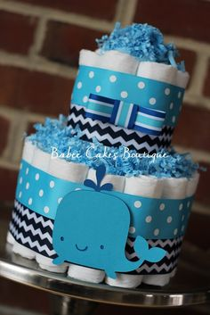 Mini 2 Tier Whale Diaper Cake Boy Baby by BabeeCakesBoutique