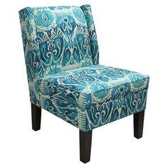 Ikat-print wingback accent chair with foam cushioning. Handmade in the USA.Product: Chair   Construction Material: Woo...