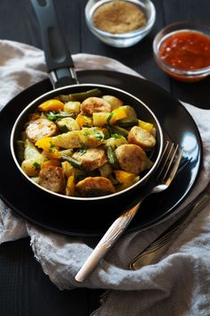 Fried potatoes with sausages. Food photography, food photo, food styling, foodporn, food images, food pics, Food pictures #food #foodphotography #foodporn #foodstyling #foodstylist #foodie #foodfoto #lunch
