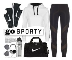 """""""Go Sporty"""" by monmondefou ❤ liked on Polyvore featuring Topshop, adidas, NIKE, Linda Farrow, SIGG, Frends, white, black, sportswear and sportystyle"""
