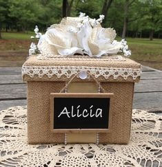 Wedding Ring Box Holder Burlap Lace silk flowers personalized chalkboard All The Best Card Boxes 3 Wedding Advice Box, Wedding Gift Boxes, Wedding Ring Box, Wedding Reception, Wedding Gifts, Wedding Table, Wedding Ideas, Wedding Decorations, Reception Ideas
