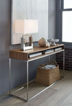Frame Console Table Frame Console Table Source by crateandbarrel Steel Furniture, Plywood Furniture, Furniture Design, Custom Furniture, Office Furniture, Console Design, Entry Tables, Modern Console Tables, Narrow Console Table