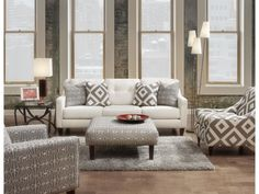 Emblem Contemporary Sofa with Track Arms by Fusion Furniture at Belfort Furniture Apartment Size Furniture, Sofa Furniture, Living Room Furniture, Living Room Decor, Accent Furniture, Apartment Living, Tufted Sofa, Loveseat Sofa, Sofa Set