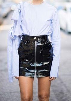 Skirt: vinyl mini black vinyl tumblr high waisted zip zipped shirt blue shirt bow