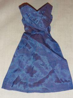 Vintage 1960's Deep Blue Silk Shantung CAMPUS BELLE Barbie Doll Fashion Dress