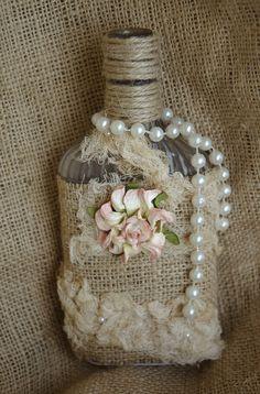 Botella Antique reutilizados, Técnicas mixtas, Shabby Chic