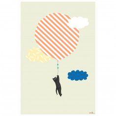 Affiche Chat volant (60 x 40 cm) - Mimi'lou