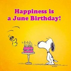 Snoopy Happy Birthday to all June Babies! Snoopy Linus, Snoopy Love, Charlie Brown And Snoopy, Snoopy And Woodstock, Peanuts Cartoon, Peanuts Snoopy, Happy Birthday Quotes, Birthday Wishes, Birthday Greetings