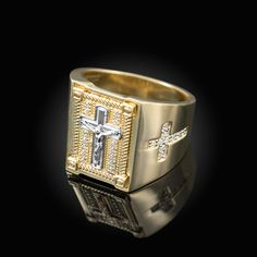 Solid Yellow Gold Diamond Cross Boxed Crucifix Mens Statement Ring Total Stones: 34 Diamonds Stones on Face of Ring: 14 Diamonds Total Side Stones: 20 Diamonds - 10 Diamonds on each side.
