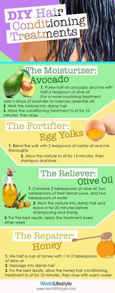 4 DIY All Natural Hair Treatments using ingredients that target common hair troubles: Moisturizer, Fortifier, Reliever and Repairer.