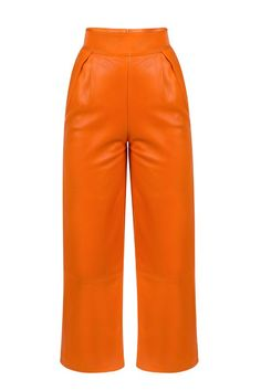 "HERMIONE PANTS Orange leather pants are this season's ""it"" pants! They ensure the most impressive look, even though they are minimalist. Wear them with one of the label's loose tops and prepare for a comfy day in the spotlight! Hermione, Orange Leather, Loose Tops, Glam Rock, Spotlight, Leather Pants, Label, Minimalist, Feminine"