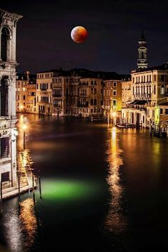 Venice Canals at Night. Italy