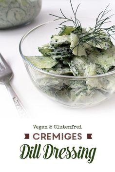 Cremiges Dill Dressing - perfekt für einen leichten Gurken Salat oder Kartoffel Salat. Das Rezept ist super einfach und benötigt nur wenige Zutaten. Foodblogger, Dips, Dressing, Raw Garlic, Salads, Few Ingredients, Dip, Sauces