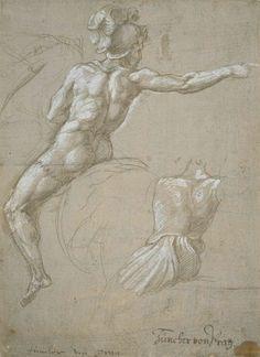 Raphaël, Étude d'un cavalier, vers 1511-1512, Pointe d'argent, rehauts de blanc de plomb, sur papier préparé gris, 198 x 144 mm. © Städel Museum, Frankfurt am Main