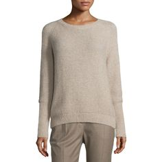Max Mara Orbita Knit Long-Sleeve Sweater (€745) ❤ liked on Polyvore featuring tops, sweaters, beige, long sleeve knit sweater, brown sweater, crew neck pullover sweater, beige knit sweater and long sweaters