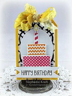 February SOTM Happy Birthday Tag by Stephanie Kraft #Tags, #Birthday, #StampoftheMonth, http://tayloredexpressions.com/kits.html