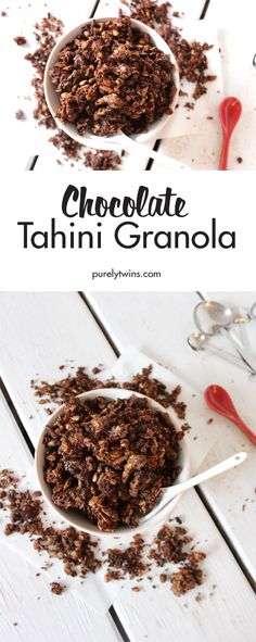 Super crunchy dark chocolate tahini granola. When your chocolate craving hits, satisfy it with this wholesome breakfast or snack! It's only made with 10 simple ingredients. Promise you'll love this granola, it doesn't have a strong tahini flavor but believe us chocolate and tahini are perfect together.