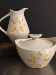 Mid Century Mod Creamer Sugar Bowl Set   Yellow Orange Leaf