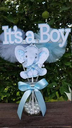 ITS A BOY Elephant Centerpieces Baby Shower Centerpieces Elephant Theme Decorati. - ITS A BOY Elephant Centerpieces Baby Shower Centerpieces Elephant Theme Decorations Elephant baby s - Distintivos Baby Shower, Mesas Para Baby Shower, Peanut Baby Shower, Baby Shower Parties, Baby Shower For Boys, Elephant Baby Shower Centerpieces, Baby Shower Decorations For Boys, Boy Baby Shower Themes, Baby Shower Balloons