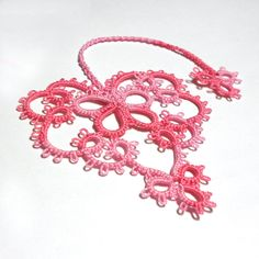 Pink Heart Tatted Bookmark