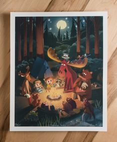 "Woodland Nursery Art - ""Campfire Fables"" Giclee Limited Edition print - by Pickle Punch Art And Illustration, Illustrations And Posters, Character Illustration, Woodland Illustration, Childrens Wall Art, Art Wall Kids, Art For Kids, Will Terry, Kids Prints"
