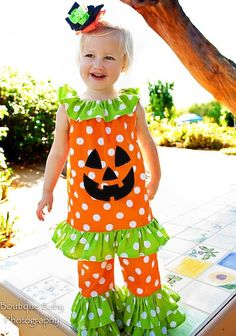 Punkin' Face Ruffle Top and Double Ruffle Pants - Sizes 12 mos - 6yr. $38.00, via Etsy.