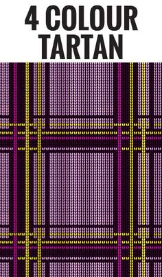 A four colour tartan design for knitting on hand or machine. 4 Colour check graph grid design