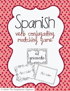 Free Spanish present tense matching game; I can even make more cards like these myself with regular index cards