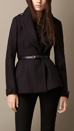 Burberry Brit Double Wool Twill Feminine Pea Coat