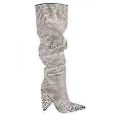Blessings Diamante Embellished Knee High Slouch Boots In Black Faux... ($115) ❤ liked on Polyvore featuring shoes, boots, high heel boots, knee high heel boots, slouchy boots, black slip on boots and slouch boots