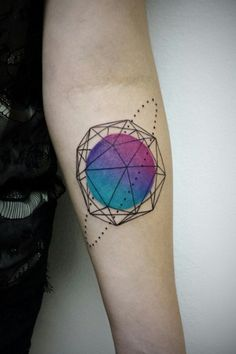 Geometric planet tattoo by Alien Wata