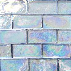 Watercolor Blue Iridescent - Prism Elixir 2 x 4 Iridescent Recycled Glass Subway Tiles