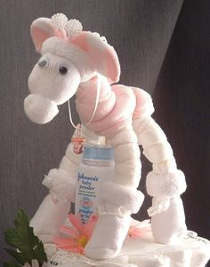 ink GIRAFFE Diaper Cake TOPPER Girl Baby Shower Decorations
