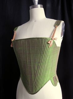 Elizabethan Corset Tudor Pair of Bodies in green by redthreaded