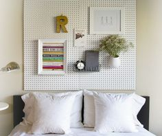 Making the most of every inch in tiny apartments and dorm rooms means using even the space on the wall. We love Sugar & Cloth's DIY pegboard project, which will make wall space handy for storage and temporarily mounted art.