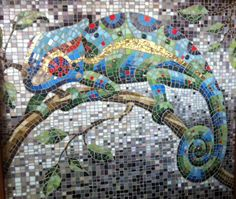 collaborative mosaic collage painting of a chameleon conway high