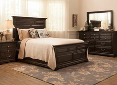 Make your bedroom warm and welcoming with the Park Terrace 4-piece queen bedroom set. Its dark cherry finish, modest raised panels and squared features create the clean lines and comfortable look that will make your bedroom a space you can truly relax in.