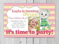 Printable Daniel Tiger's Neighborhood Birthday Invitation, Photo Cutsom Daniel Tiger's JPG Invite, Pink Kitty Invitation