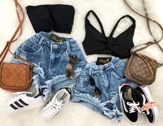 Swag Outfits For Girls, Teenage Outfits, Summer Outfits For Teens, Teen Fashion Outfits, Edgy Outfits, Cute Fashion, Cool Outfits, Womens Fashion, Mode Rockabilly